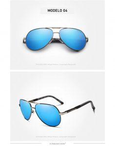 Óculos de sol Masculino Polarizado Magnésio KingSeven N725 Azul Prata