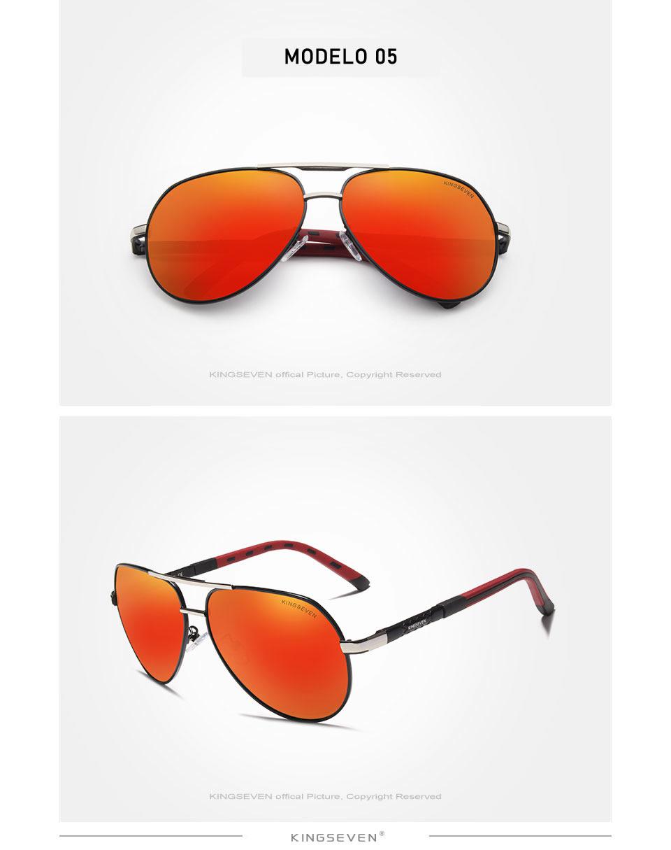 Óculos de sol Masculino Polarizado Magnésio KingSeven N725 Prata Vermelho