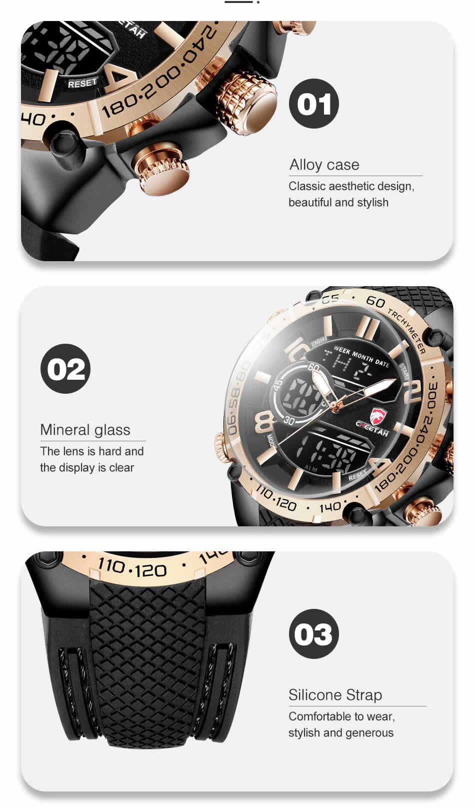 Relógio Cheetah de Luxo Masculino Militar Esportivo Quartzo
