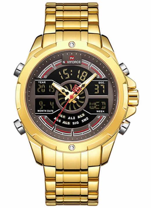 Relógio Naviforce Masculino Militar Dourado