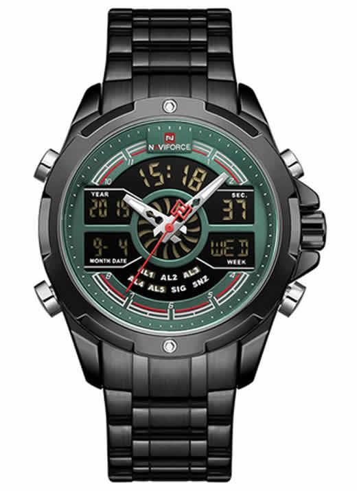 Relógio Naviforce Masculino Militar Preto Verde