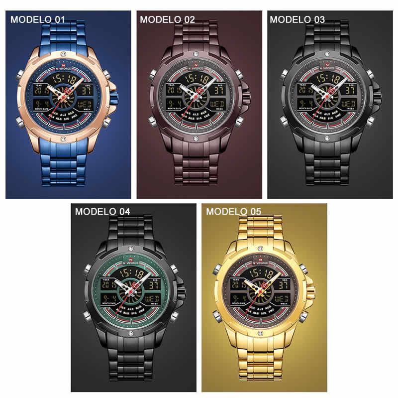 relógio naviforce original masculino militar Army Dual Display Digital