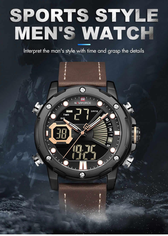 relógio naviforce original masculino militar couro