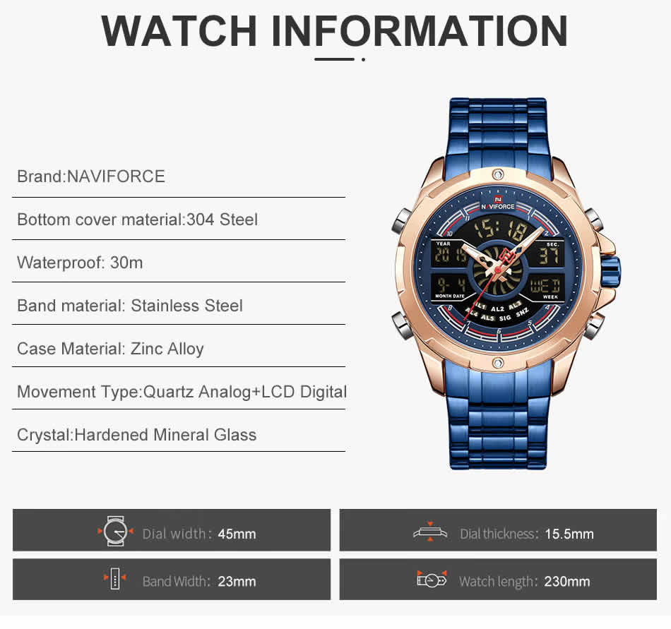 relógio naviforce original masculino militar funções cor azul
