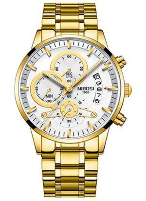 Relógio Nibosi Style Funcional Dourado Branco