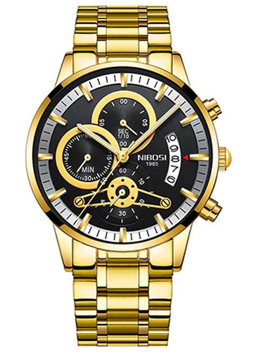 Relógio Nibosi Style Funcional Dourado Preto