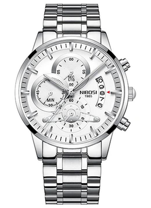 Relógio Nibosi Style Funcional Prata Branco