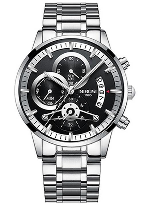 Relógio Nibosi Style Funcional Prata Preto