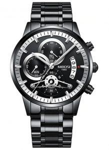 Relógio Nibosi Style Funcional Preto Prata