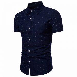 Camisa Masculina Slim Fit Azul Marinho