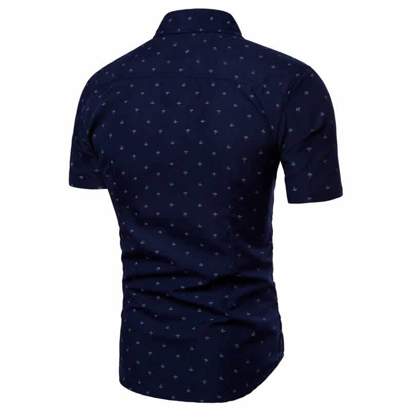Camisa Masculina Slim Fit Azul Marinho Costas