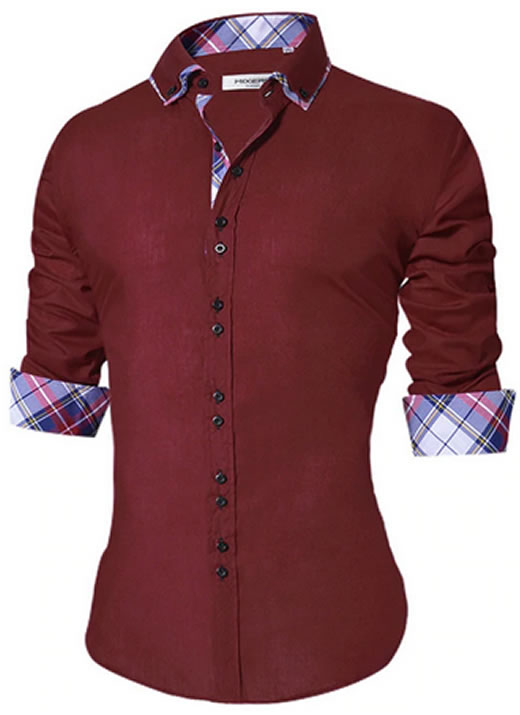Camisa Masculina Slim Fit Mixers Vinho Bordô