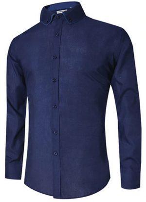 Camisa Masculina Slim Fit Mixers Azul Marinho
