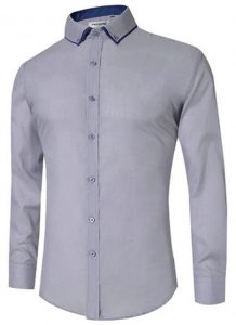 Camisa Masculina Slim Fit Mixers Cinza
