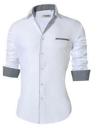 Camisa Masculina Slim Fit Mixers Branca Cinza