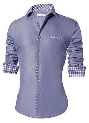 Camisa Masculina Slim Fit Mixers Cinza Degrade