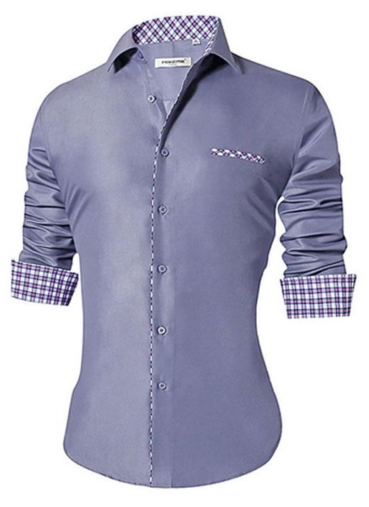 Camisa Masculina Slim Fit Mixers Cinza Degrade