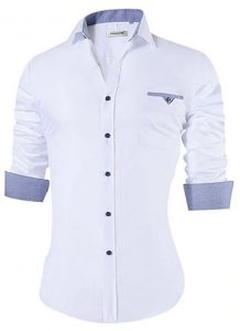 Camisa Masculina Slim Fit Mixers Branca Gray