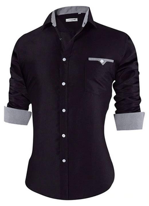 Camisa Masculina Slim Fit Mixers Preta Gray