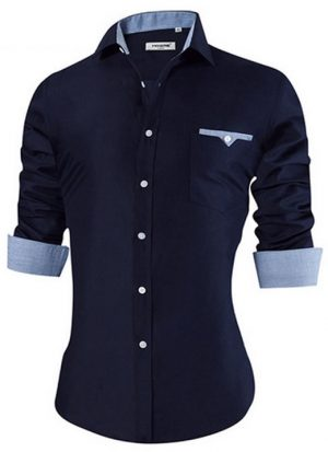 Camisa Masculina Slim Fit Mixers Azul Escuro Gray
