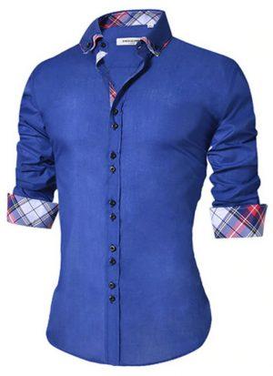 Camisa Masculina Slim Fit Mixers Azul Xadrez