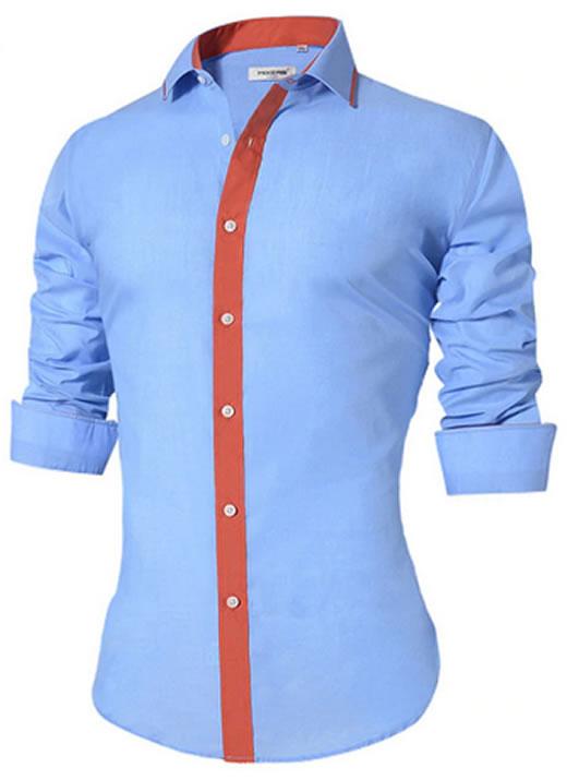 Camisa Masculina Slim Fit Mixers Azul Fit