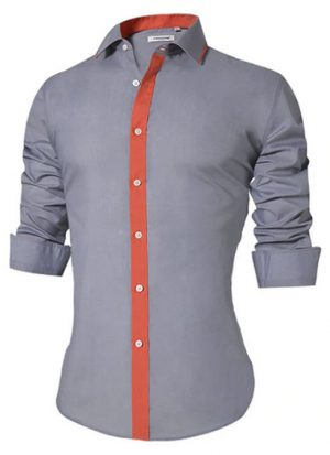 Camisa Masculina Slim Fit Mixers Cinza Fit