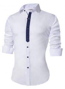 Camisa Masculina Slim Fit Mixers Branca Fit
