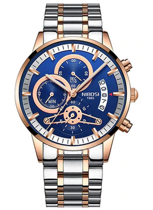 Relógio Nibosi Style Funcional Prata Rose Azul