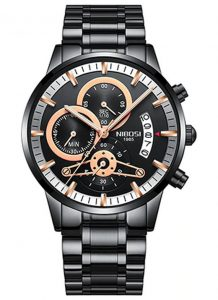 Relógio Nibosi Style Funcional Preto Rose
