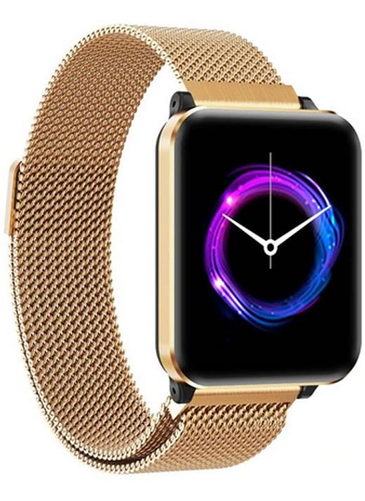 Smartwatch Relógio Eletrônico Y61 P1 Pro Style Cor Dourado Pulseira de Aço P1