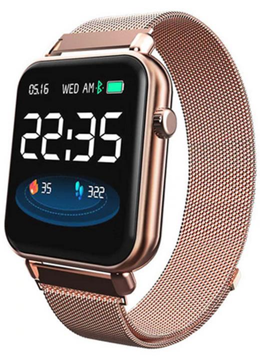 Smartwatch Relógio Eletrônico Y62 Pro Style Cor Rose Pulseira de Aço