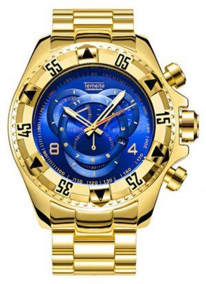 Relógio Temeite Reserve Dourado Azul