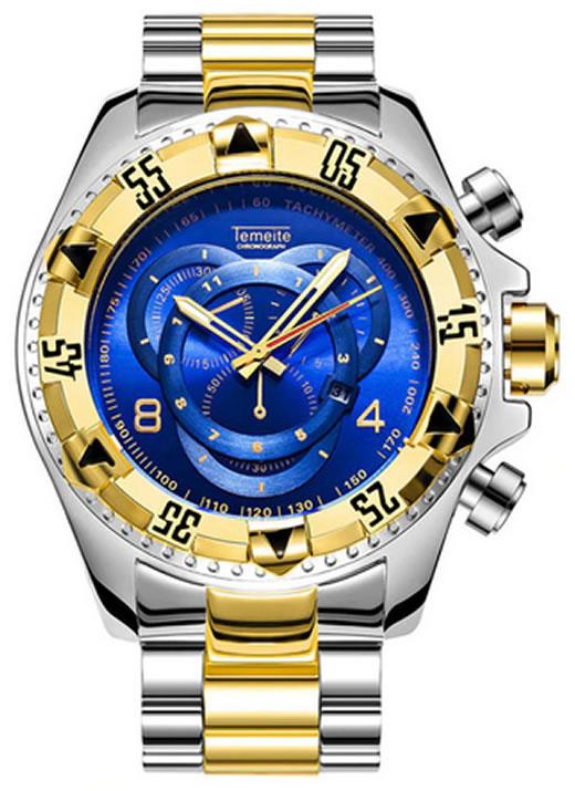 Relógio Temeite Reserve Prata Dourado Azul