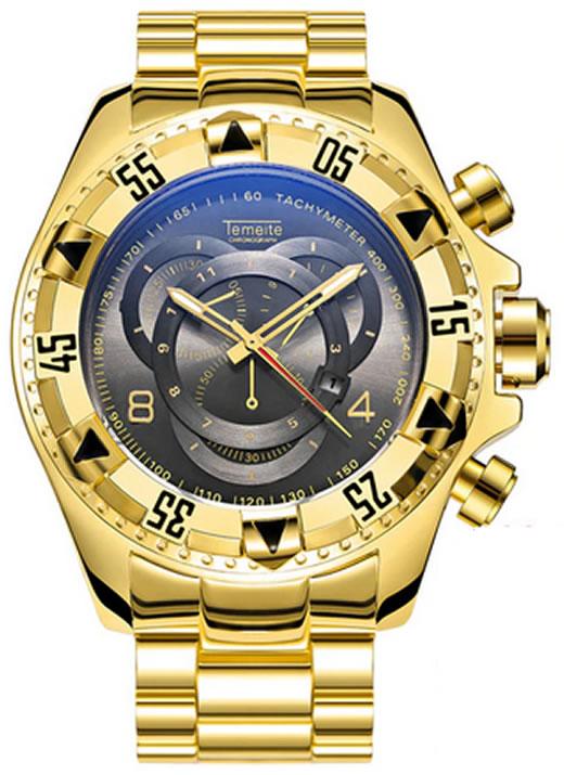 Relógio Temeite Reserve Dourado Preto