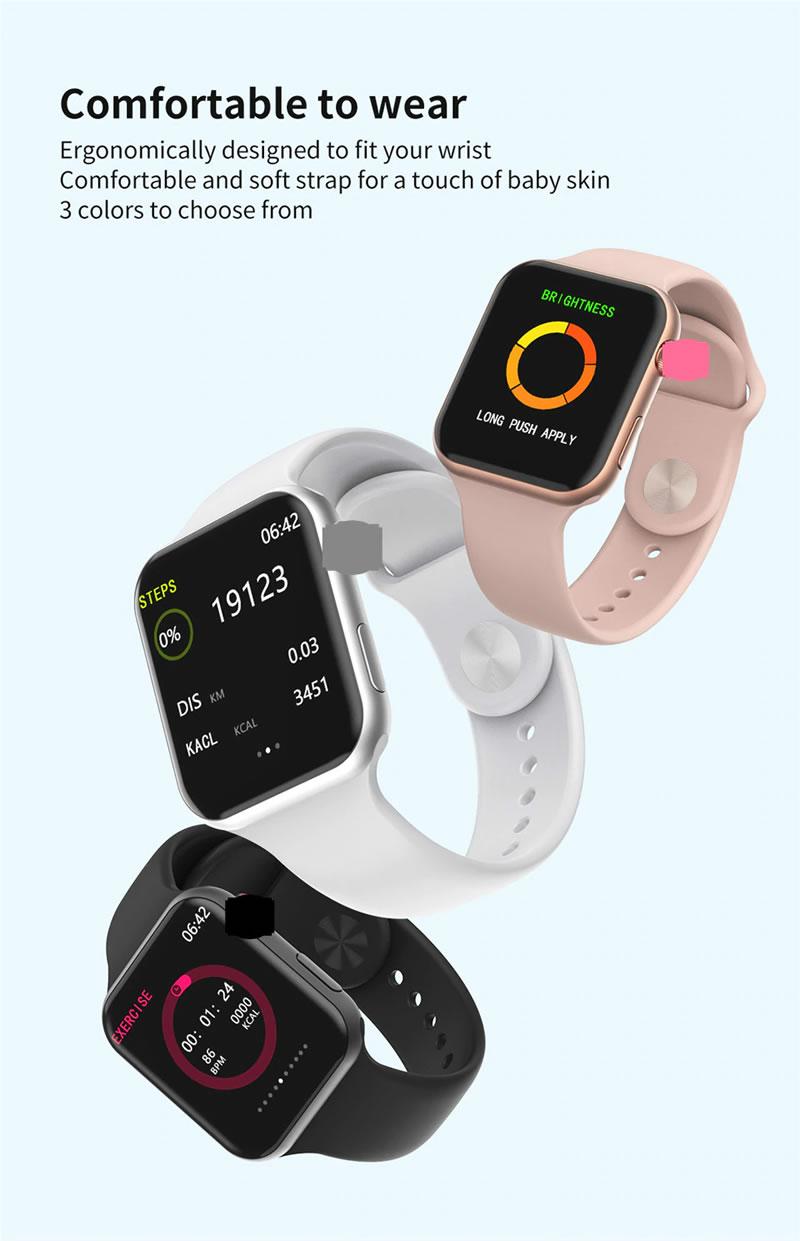 relógio smartwatch f10 inteligente ios android Rosa Branco e Preto