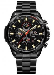 Relógio Automático Forsining Funcional Preto Dourado
