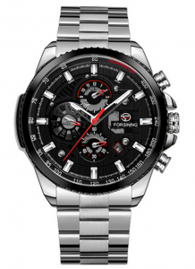 Relógio Automático Forsining Funcional Prata Preto