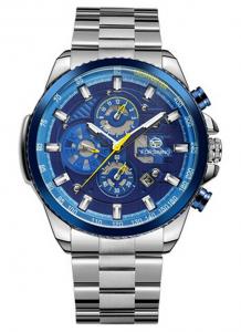 Relógio Automático Forsining Funcional Prata Azul