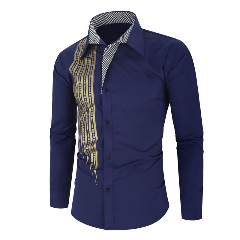 Camisa Importada Masculina Slim Fit Alfa Men Azul Marinho