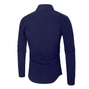 Camisa Importada Masculina Slim Fit Alfa Men Azul Marinho Costas