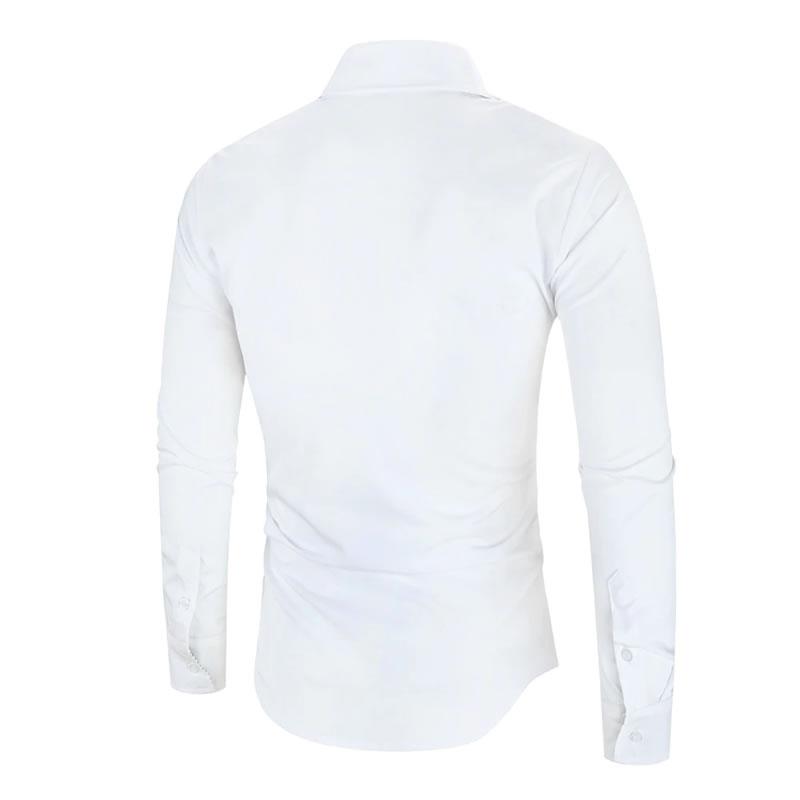 Camisa Importada Masculina Slim Fit Alfa Men Branca Costas