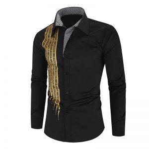 Camisa Importada Masculina Slim Fit Alfa Men Preta