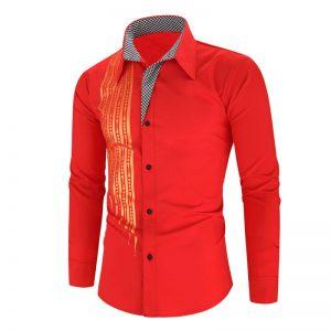 Camisa Importada Masculina Slim Fit Alfa Men Vermelha