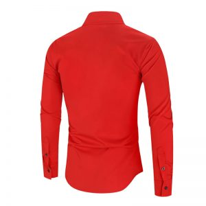 Camisa Importada Masculina Slim Fit Alfa Men Vermelha Costas