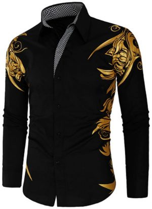 Camisa Masculina Estampada Importada Slim Fit Preta