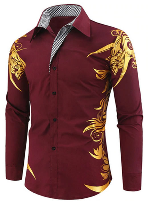 Camisa Masculina Estampada Importada Slim Fit Vinho