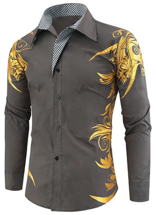 Camisa Masculina Estampada Importada Slim Fit Cinza