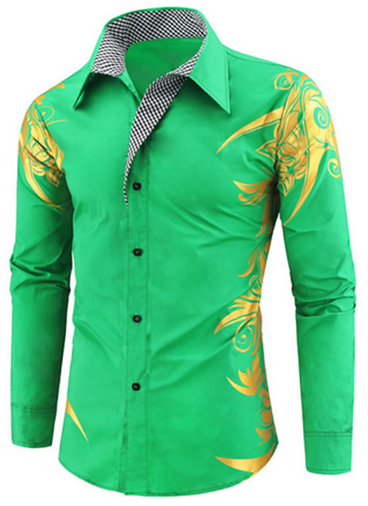 Camisa Masculina Estampada Importada Slim Fit Verde