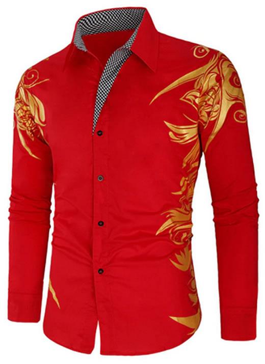 Camisa Masculina Estampada Importada Slim Fit Vermelha
